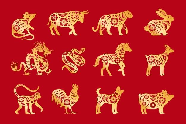 Oro su oroscopo cinese rosso. zodiaco cinese degli animali di vettore, insieme dei segni del calandar della cina, simboli zodiacali orientali astrologici vector l'illustrazione
