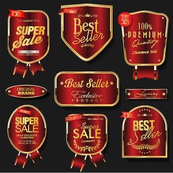 Collezione oro e rosso di distintivi ed etichette