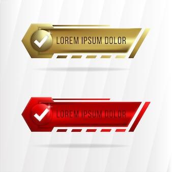 Oro una raccolta di elementi web sfumati rossi migliore per la vendita e la pubblicità. elemento banner esagonale.