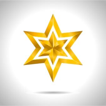Natale rosso di simbolo di arte dell'illustrazione della stella dell'oro