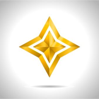 Simbolo rosso di arte dell'illustrazione 3d di vettore della stella dell'oro
