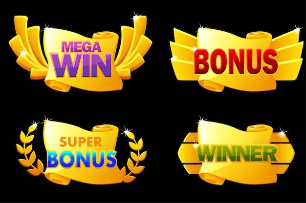 Scorrimento ricompensa oro, vincitore, banner bonus per i giochi dell'interfaccia utente. illustrazione vettoriale set di rotoli di carta d'oro per il premio del vincitore, poster per la vittoria.