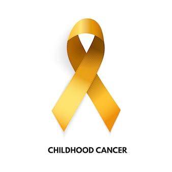 Nastro d'oro. segno di cancro infantile. illustrazione vettoriale eps10