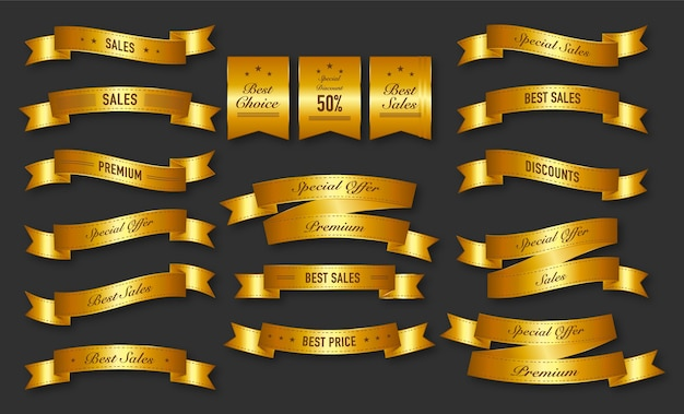Collezione di etichette di nastri d'oro