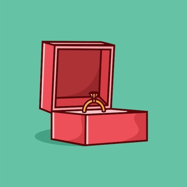 Anello in oro con diamante in illustrazione vettoriale scatola con stile cartone animato