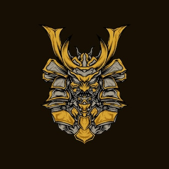 Illustrazione vettoriale di samurai corazzato oni robot d'oro per maglietta o prodotto di stampa