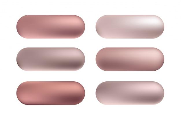 Set di bottoni in oro rosa, lamina di bronzo. reticolo di gradiente metallico di lustro dorato di vettore.