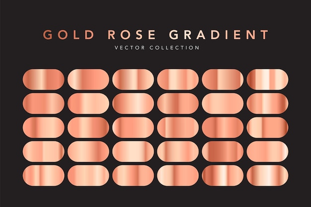 Set di texture lamina d'oro rosa isolato sul nero