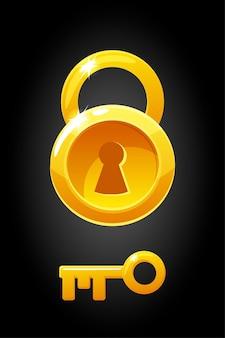 Lucchetto rotondo in oro e illustrazione della chiave di un semplice lucchetto circolare.