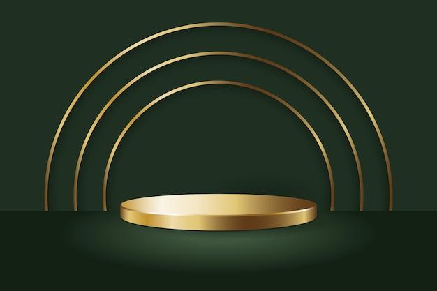 Modello di mockup di espositore per podio rotondo in oro e linee di cerchio d'oro sul pavimento e sullo sfondo verdi Vettore Premium