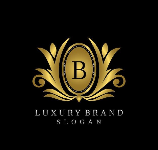 Oro royal boutique emblema lettera b logo design