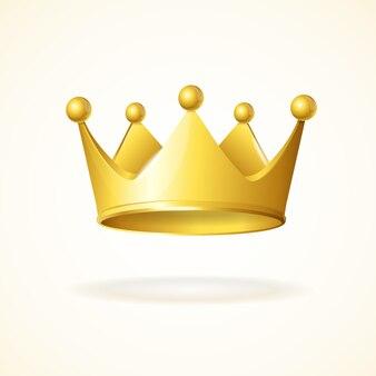 Corona reale dell'oro isolata su un bianco