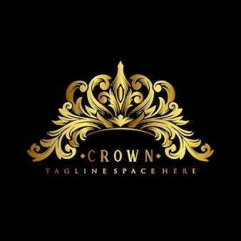 Illustrazioni di design di lusso del logo della corona reale dell'oro