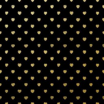 Cuori d'oro senza soluzione di continuità sul nero.