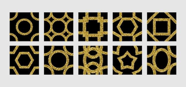 I modelli senza cuciture di paillettes dorate impostano sfondi ripetuti per biglietti di auguri per stampe di interni in tessuto