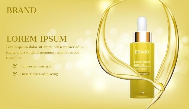 Bottiglia di siero d'oro con brillante sfondo liquido di colata