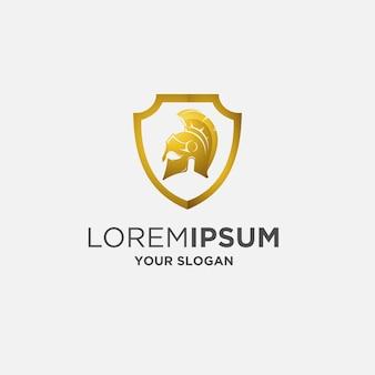 Scudo d'oro casco armatura gladiatore logo
