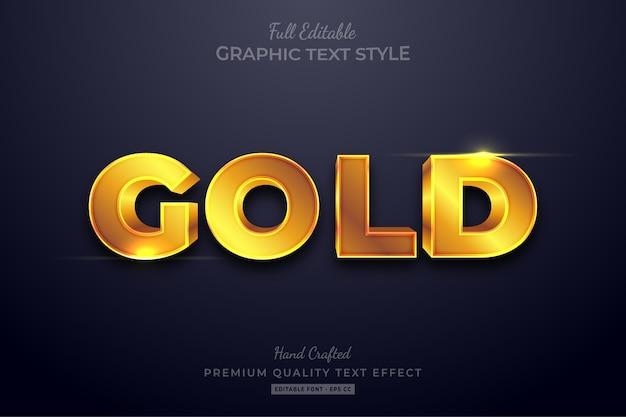 Stile carattere modificabile effetto testo oro brillante