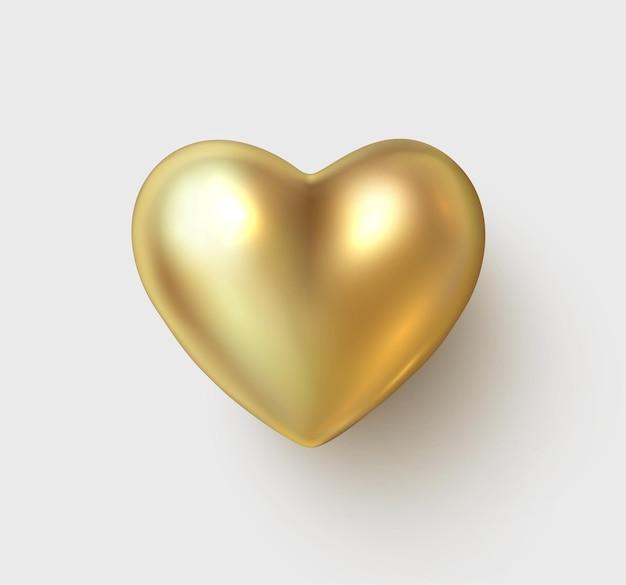 Cuore 3d lucido oro isolato su sfondo bianco