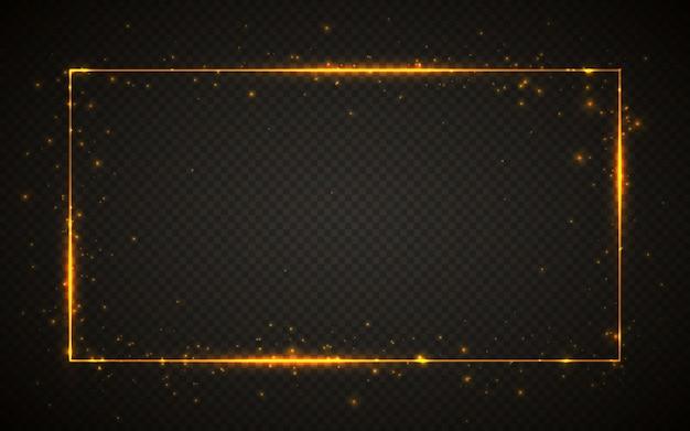 Cornice in glitter oro lucido con effetti di luci. striscione rettangolo splendente