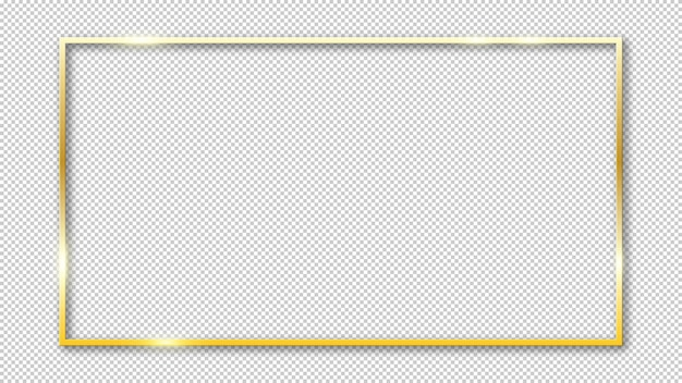 Cornice dorata lucida isolata su trasparente