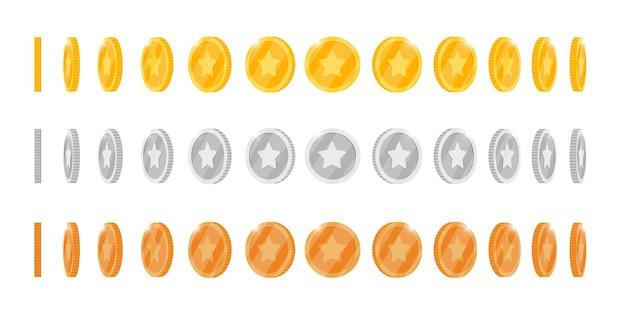 La moneta 3d in bronzo argento oro gira intorno a diverse posizioni impostate per l'animazione di giochi o app. elementi di rotazione di vincita del poker del casinò del jackpot di bingo. il concetto di tesoro in contanti ha isolato l'illustrazione piana di vettore di eps