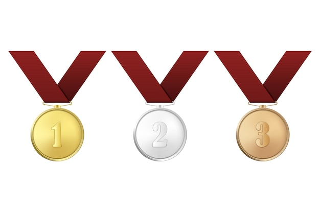 Medaglie d'oro, d'argento e di bronzo con nastri rossi incastonati su sfondo bianco. il primo, secondo, terzo premio.