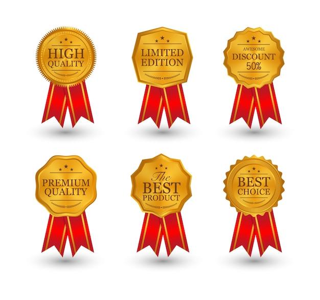 Oro, argento, bronzo, medaglie premio con nastri