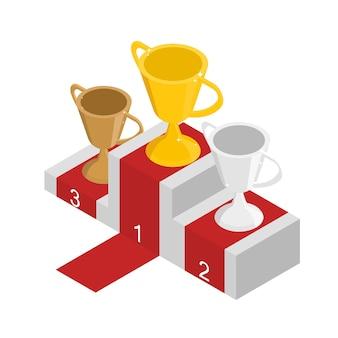 Coppe in oro argento e bronzo in vista isometrica. il podio per i vincitori. miglior premio per la competizione. illustrazione vettoriale