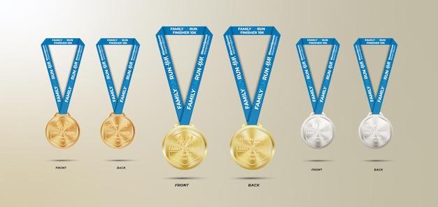 Set di medaglie in bronzo argento oro