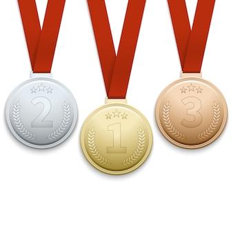 Insieme di vettore di medaglie d'oro argento e bronzo