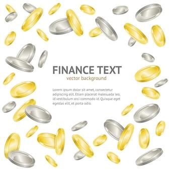 Fondo del telaio dei soldi della moneta d'oro e d'argento con modello di testo di esempio