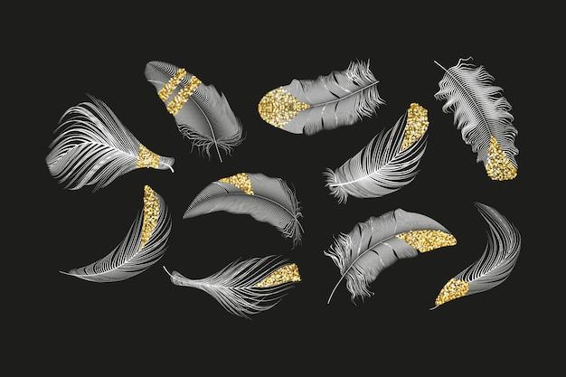 Collezione di piume d'oro e d'argento impostata su uno sfondo bianco.