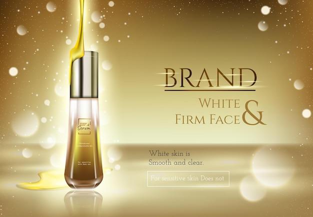 Essenza per la cura della pelle dorata con effetto luce dorata e sfondo oro, illustrazione 3d
