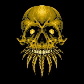 Gold skull cannabis weed leaves illustrazioni vettoriali per il tuo lavoro logo, t-shirt di merce mascotte, adesivi e design di etichette, poster, biglietti di auguri pubblicitari società o marchi.