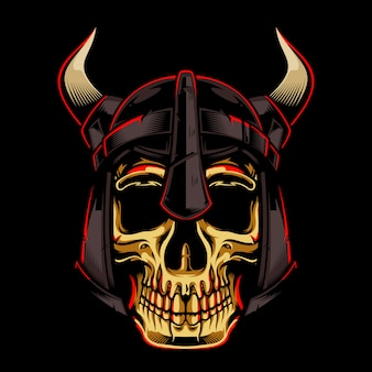 Cranio dell'oro con l'illustrazione di viking helmet