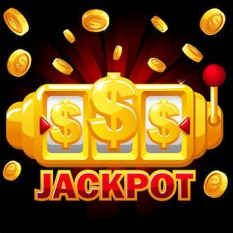 Gold slot machine, bonus jackpot in dollari, monete splash per il gioco dell'interfaccia utente. macchina da gioco d'azzardo scommessa vittoria striscione illustrazione vettoriale per il design.