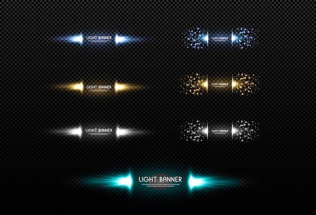 L'oro scintilla oro, neon, bianco, le stelle brillano con uno speciale effetto di luce. banner pubblicitario dorato, neon, bianco. estratto di natale. illustrazione per le scorte.