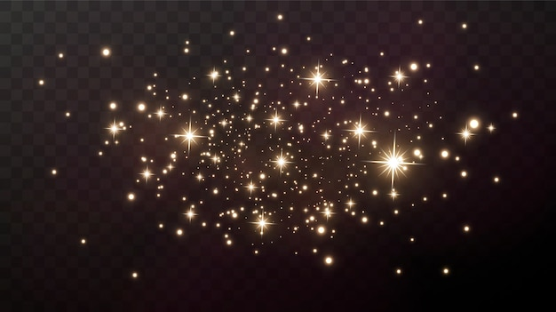 Scintille d'oro e stelle dorate brillano con uno speciale effetto di luce.