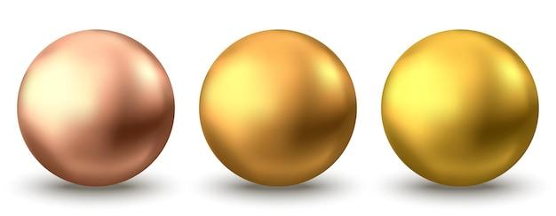 Sfera d'oro. bolla di olio isolata su priorità bassa bianca. sfera 3d lucida dorata o perla preziosa. siero giallo o gocce di collagene. elemento di decorazione vettoriale per pacchetto cosmetico per la cura della pelle.