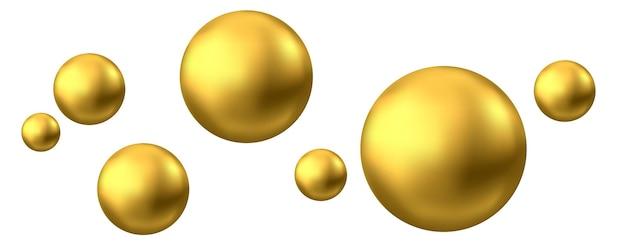 Sfera d'oro bolla di olio isolata su sfondo bianco sfera 3d lucida dorata o perla preziosa precious
