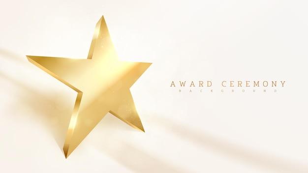 A forma di stella d'oro, sfondo effetto lusso scintillante chiaro, concetto di scena della cerimonia di premiazione illustrazione vettoriale.