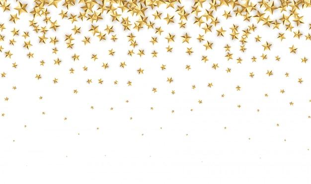 Stelle d'oro. decorazione astratta dei coriandoli della lamina d'oro che cade per la festa