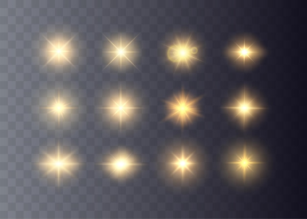 Stelle d'oro e scintille hanno isolato la raccolta di effetti di luce incandescente e raggi di sole vettoriali