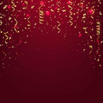 Stelle filanti d'oro con carta di compleanno coriandoli