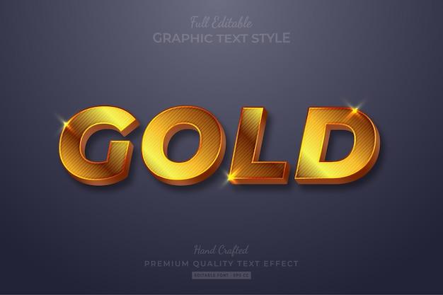 Stile carattere modificabile effetto testo bagliore striscia d'oro