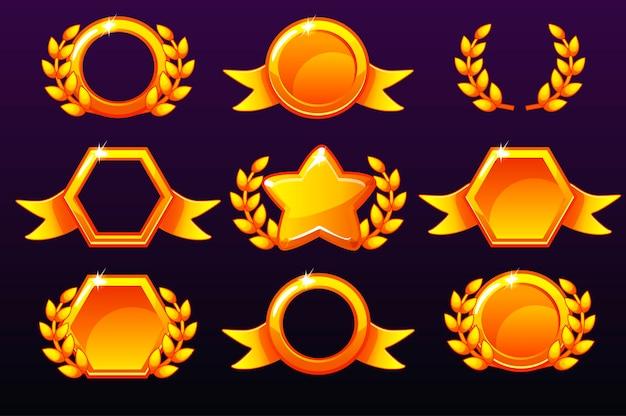 Modelli d'oro per premi, creazione di icone per giochi mobili.