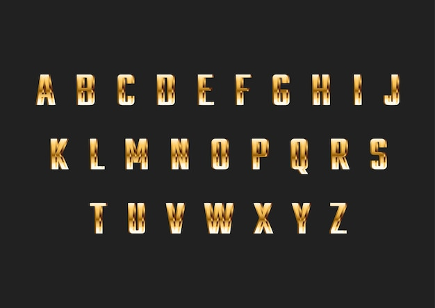 Alfabeto di carattere moderno sottile oro