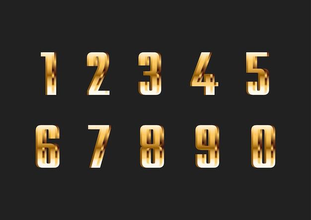 Set di numeri di caratteri moderni sottili d'oro