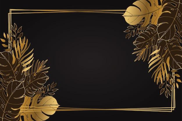 Foglie tropicali dorate e sfondo cornice
